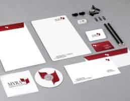 MYRA School of Business Stationery Design